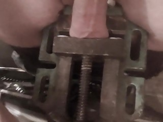 His balls get violated by a clamp and he enjoys