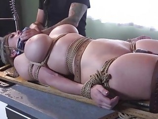 Short-haired blonde is dominated by a horny hairy dude hard