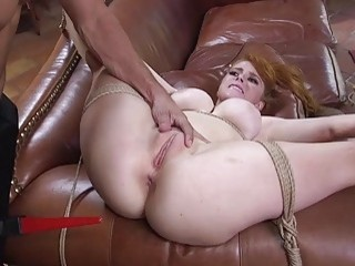 Slutty redhead gets her tight pussy rubbed and fucked hard