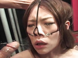 SLutty Asian babe gets fucked up her throat and puss