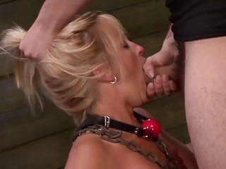 Blondie with big titties gets her face fucked by master
