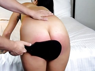 Babe gets her big fat ass spanked hard by master