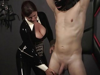Mistress hits her male slave from the back real hard