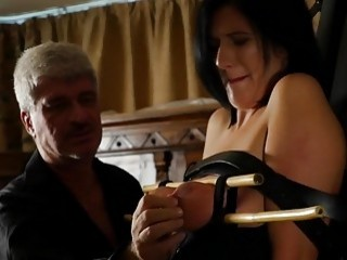 Slave gets her pussy whipped by mature horny master hard