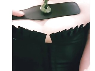 Amateur chick practices BDSM and spanks her own cute body