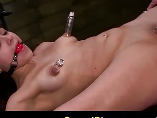 Submissive tied naked girl gets messy from BDSM and bondage