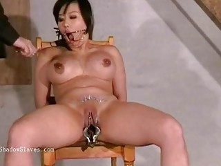 Busty naked Asian MILF enjoys hardcore BDSM with her master