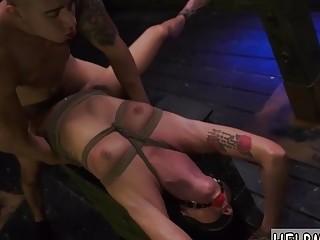 Cute submissive naked tattooed girl enjoys rough BDSM and bondage