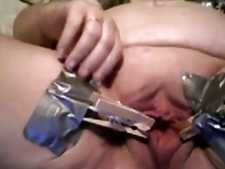 Fat ass lady uses toys to punish her tight pussy