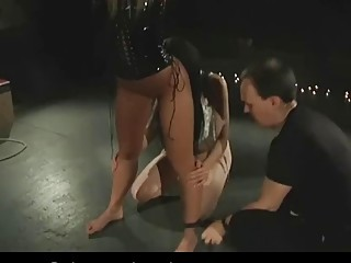 Two submissive naughties enjoy BDSM and bondage with their master