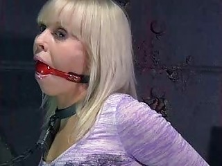 Chained blonde teen's mouth is gagged on a live feed